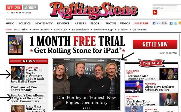 Three clients hit RollingStone.com
