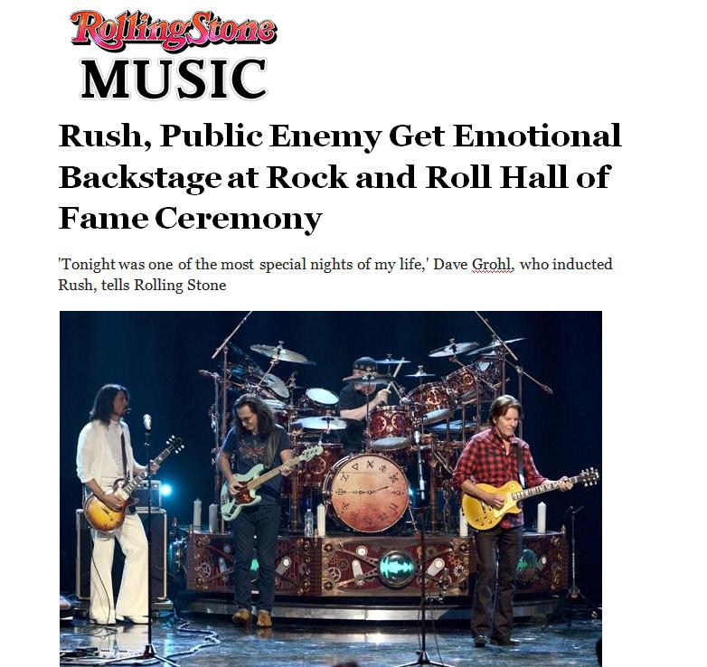 Rush, Public Enemy Get Emotional Backstage at Rock and Roll Hall of Fame Ceremony