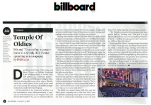 The Saban Theater featured in Billboard
