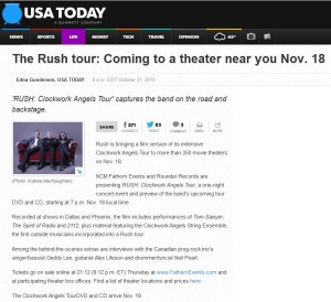 USA TODAY — The Rush tour: Coming to a theater near you Nov. 18