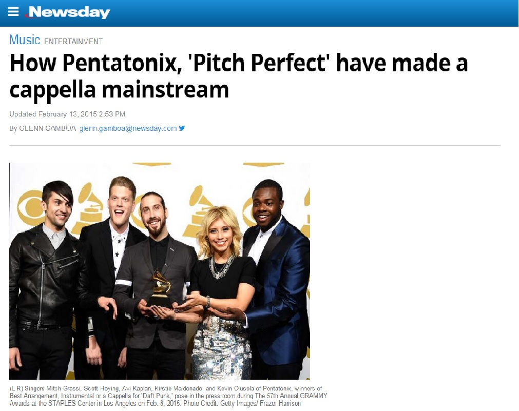 NEWSDAY: How Pentatonix, \'Pitch Perfect\' have made a cappella ...