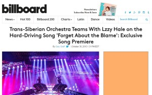 BILLBOARD: Trans-Siberian Orchestra Teams With Lzzy Hale on the Hard-Driving Song 'Forget About the Blame': Exclusive Song Premiere
