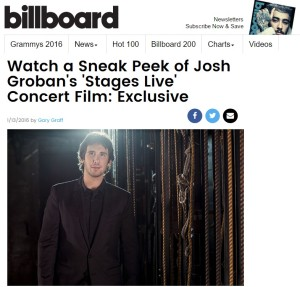 BILLBOARD: Sneak Peek of Josh Groban's 'Stages Live' Concert Film: Exclusive