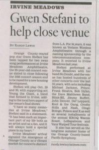 LA TIMES-Gwen Stefani to help close venue