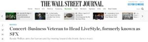 WSJ: Concert-Business Veteran to Head LiveStyle, formerly known as SFX