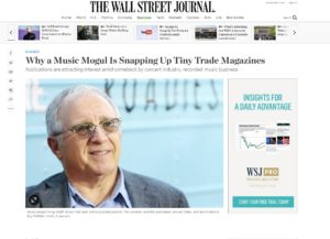 Wall Street Journal: Why a Music Mogul Is Snapping Up Tiny Trade Magazines