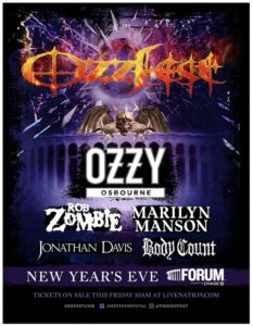 OZZFEST Featuring Ozzy Osbourne, Rob Zombie, Marilyn Manson & Jonathan Davis Coming to the Forum December 31