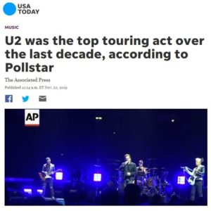 USA TODAY: U2 was the top touring act over the last decade, according to Pollstar