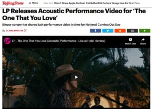 ROLLING STONE: LP Releases Acoustic Performance Video for 'The One That You Love'